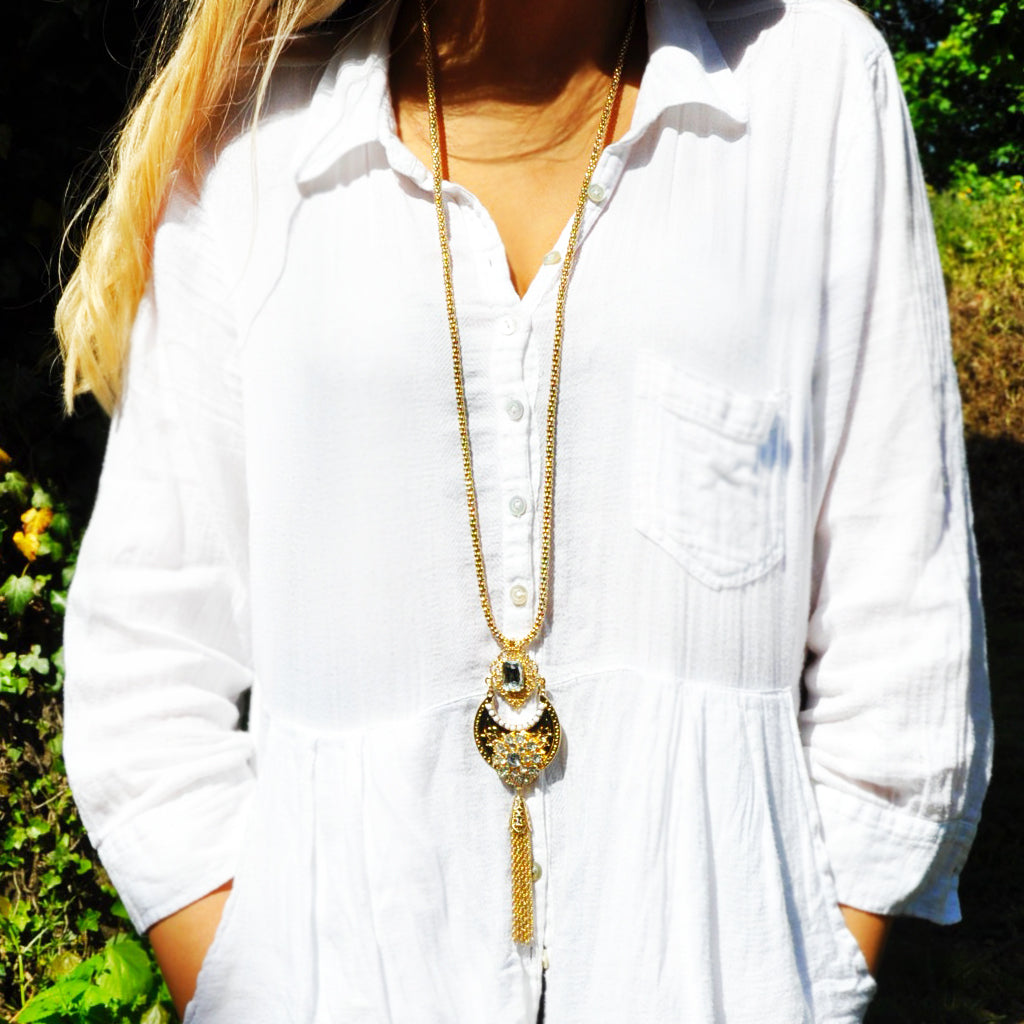 Long Crescent Moon Tassel Necklace