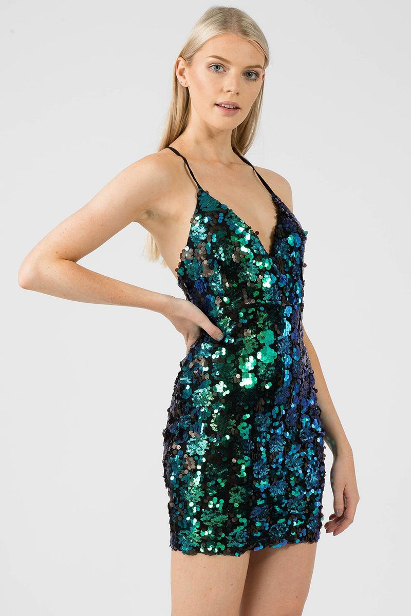 Green Sequin Bodycon Dress