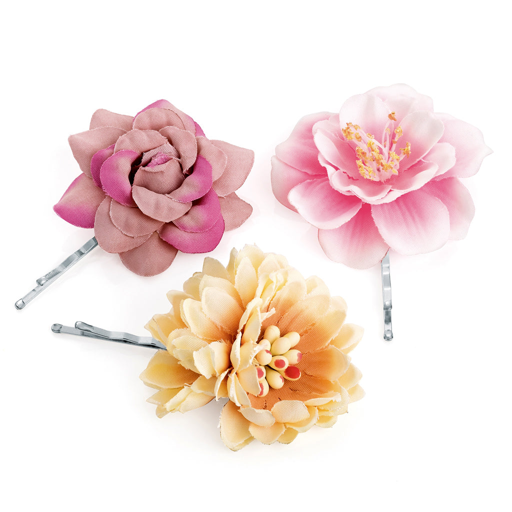 x3 Mini Vintage Flowers Hair Clips