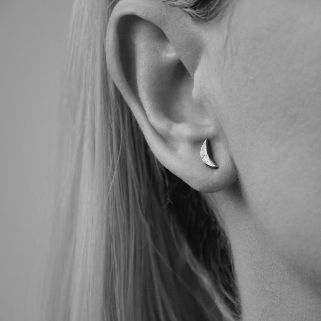 Crescent Moon Studs, Blackened, 925 Sterling Silver
