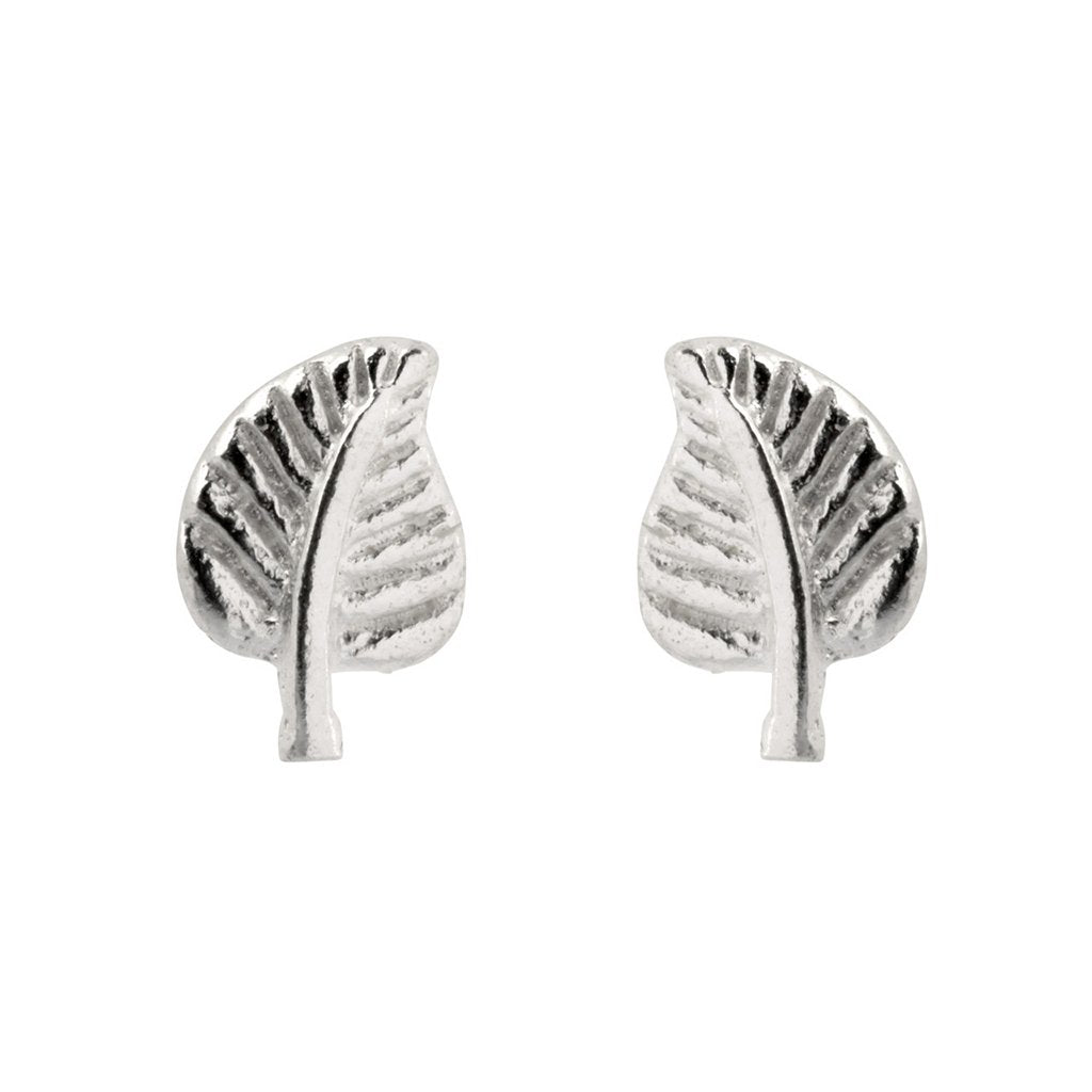 Tiny Leaf Studs, 925 Sterling Silver