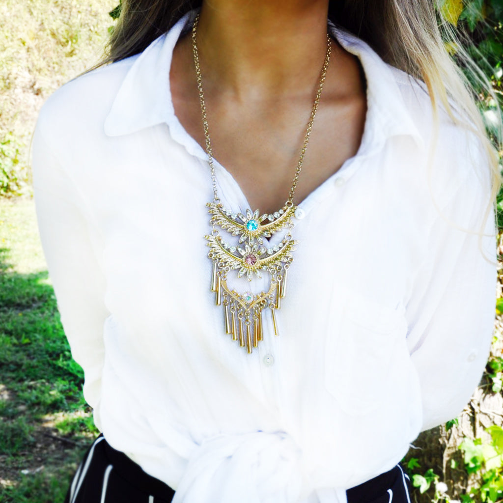 Statement Winged Tassel Necklace