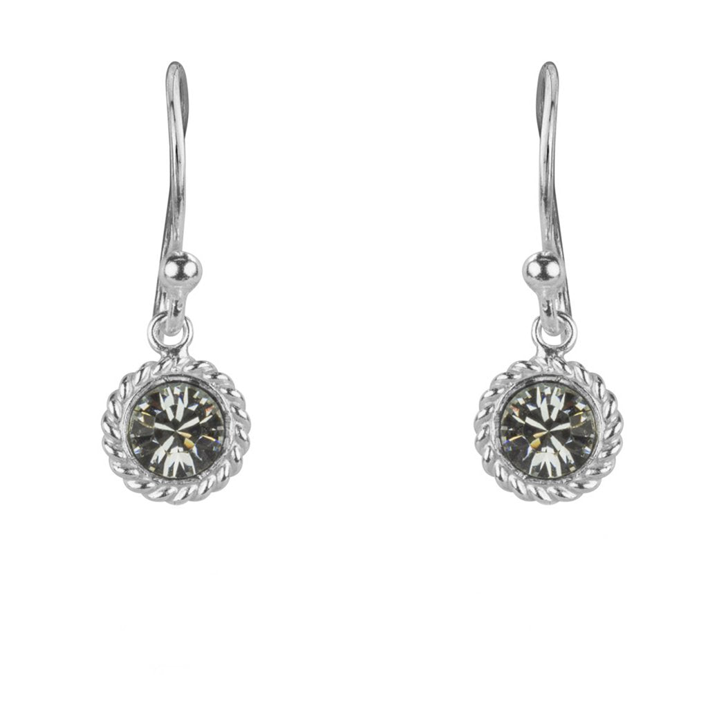 Vintage Crystal Earrings, 925 Sterling Silver