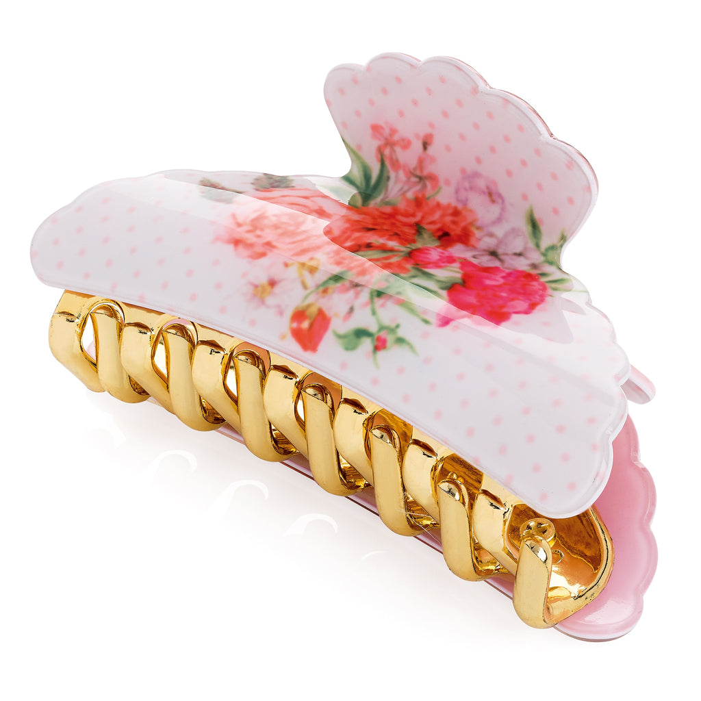 Vintage Flower Bulldog Hair Clip