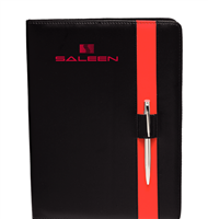 Saleen Color Block Black Leather Portfolio