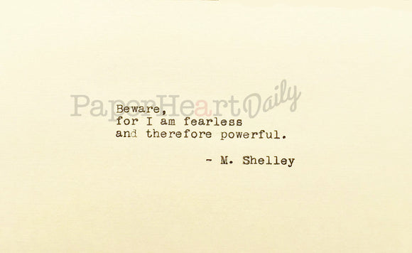 MARY SHELLEY Typed Quote - PaperHeartDaily