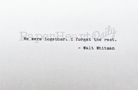 WALT WHITMAN Typed Quote - PaperHeartDaily