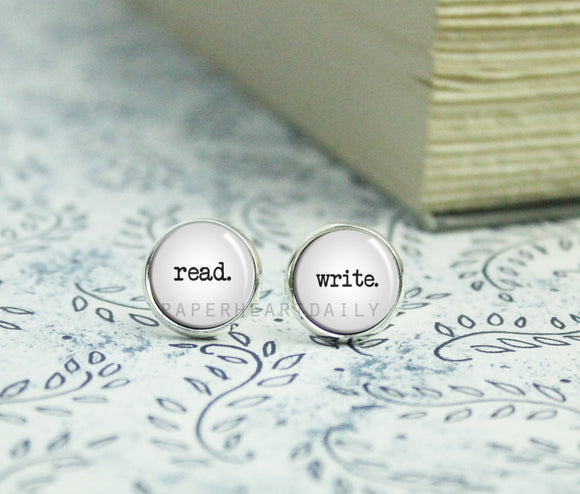 READ WRITE Silver Earrings