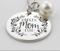 Best Mom Ever engraved Necklace with pearl-All-Times-Gifts