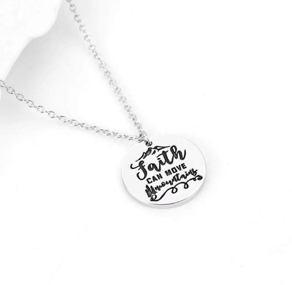 "Hand stamped ""faith Can Move Mountains"" necklace-All-Times-Gifts"