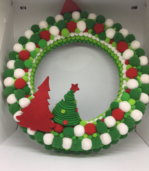 Felt Green Red White Christmas Wreath All Times Gifts