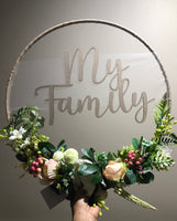 Floral Hoop Wall Art Wooden or Natural