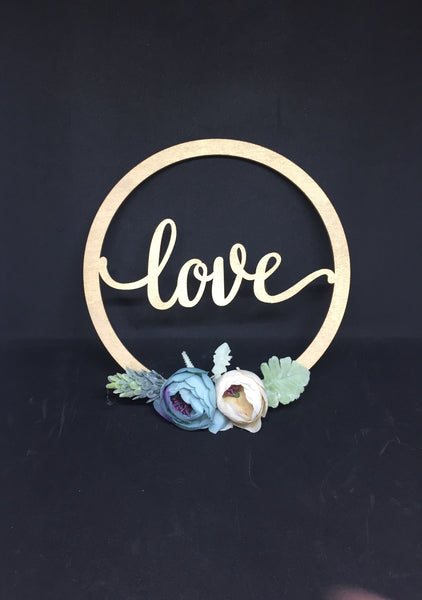 Mini Golden Wooden Floral Hoop with Script-Personalised Hoops-All-Times-Gifts
