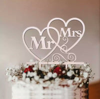 Mr & Mrs Two Hearts Cake Topper-Cake Topper-All-Times-Gifts