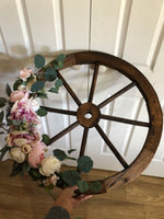 Floral Wooden Wagon Wheel-All-Times-Gifts