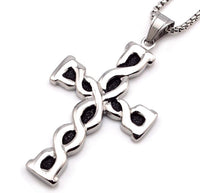 Stainless Steel Silver Spiral Cross Chain for Men-Jewellery-All-Times-Gifts