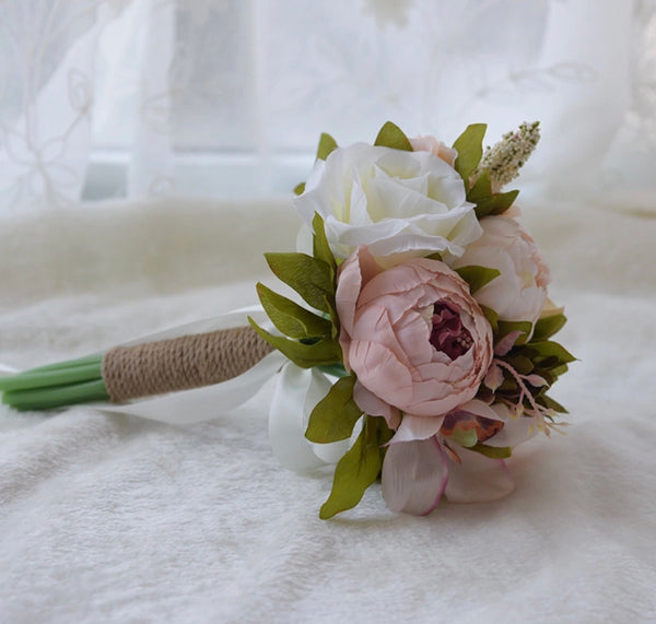 Bridal Bouquet Pink Ivory-All-Times-Gifts