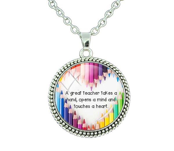 "Teacher's Necklace ""A great teacher takes a hand, opens a mind and touches a heart""-Jewellery-All-Times-Gifts"
