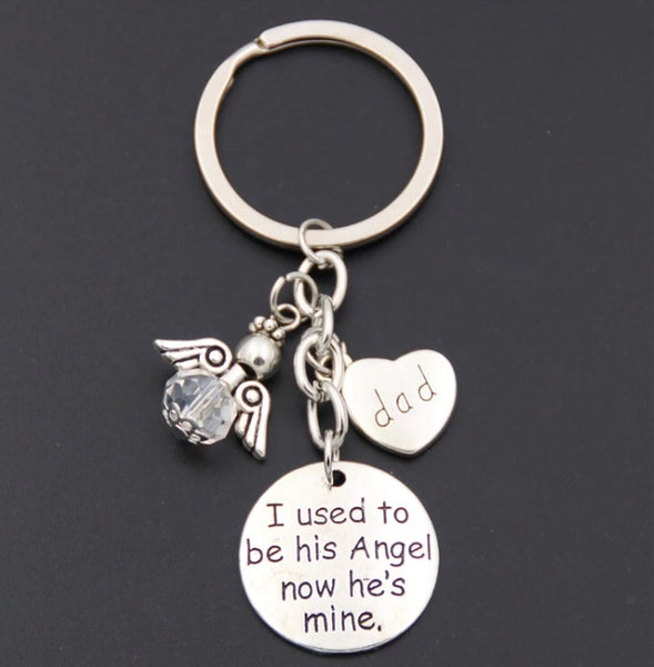 "Memory of Dad/Mum/Brother ""I Used To Be His/her Angel"" Keychain with Angel-Keychain-All-Times-Gifts"