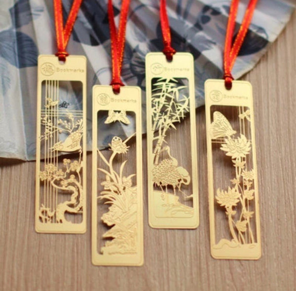 4pcs / Set Gold Metal Bookmarks-Bookmarks-All-Times-Gifts