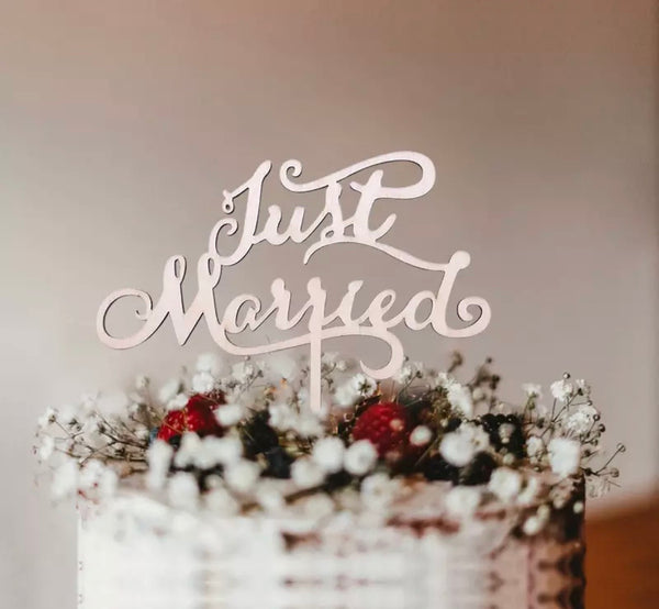 Just Married Cake Topper-Cake Topper-All-Times-Gifts