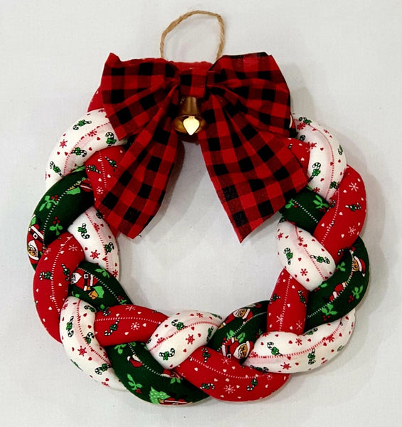 Braided fabrics Christmas wreath-All-Times-Gifts