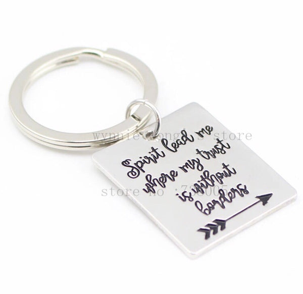 Spirit lead me where my trust is without borders keychain-All-Times-Gifts