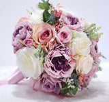 Pink Purple Bridal Bouquet-All-Times-Gifts