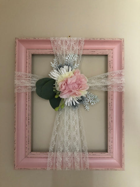 Pink frame with elegant cross-All-Times-Gifts