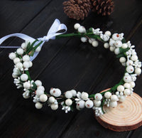 Pearl and Berry White or Red Flower Hair Crown-All-Times-Gifts