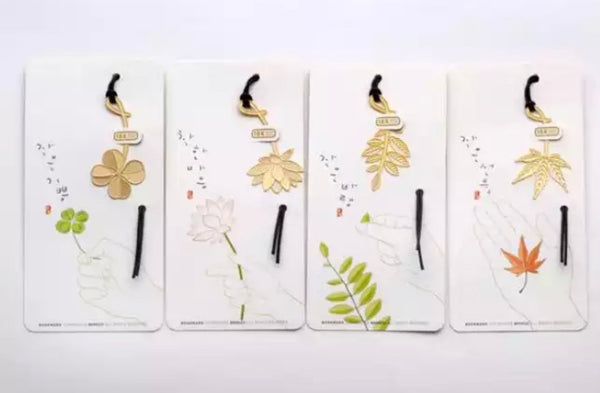 4pcs/set Mini Golden Metal Leaves Bookmarks-All-Times-Gifts