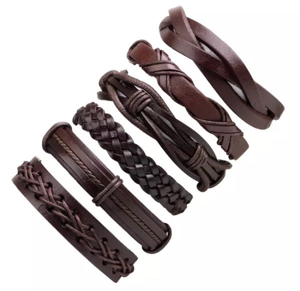 2pcs/Set Brown Genuine Leather Bracelet for Men-Bracelet-All-Times-Gifts