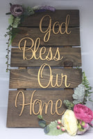God Bless Our Home Rectangular Plaque-Home Decor-All-Times-Gifts