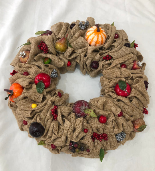 Fruit Burlap Wreath-Wreath-All-Times-Gifts