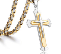 Stainless Steel Chain 3 Layer Cross Silver Gold Colour-Jewellery-All-Times-Gifts