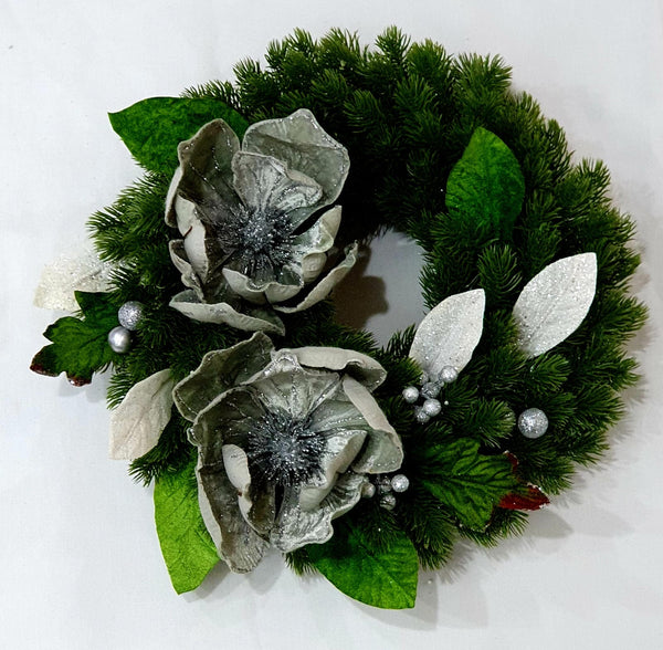 Pine wreath with velvet poinsettias-All-Times-Gifts