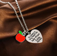 Teacher Apple Heart Necklace-All-Times-Gifts