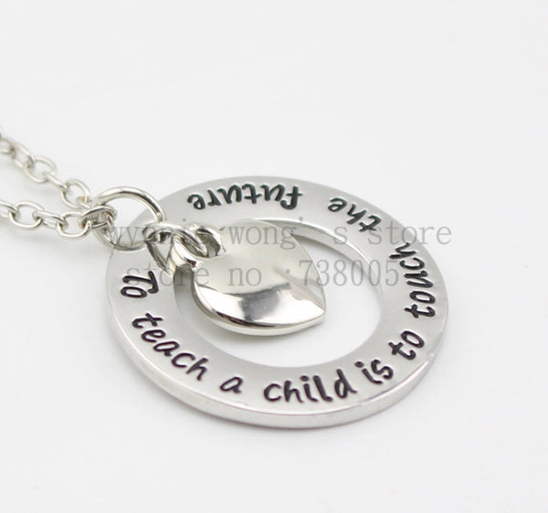 "Teachers Necklace ""To teach a child is to touch the future""-All-Times-Gifts"