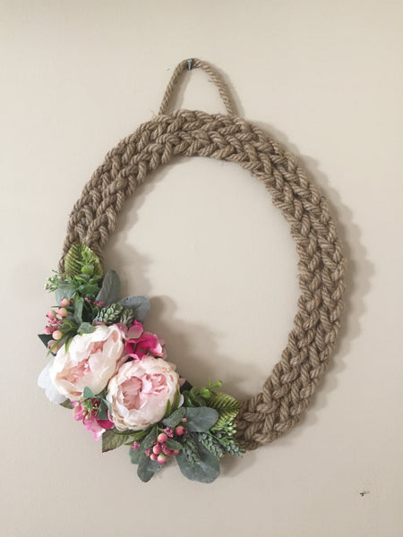 Braided Chunky Rope Floral Wreath-Personalised Wreath-All-Times-Gifts