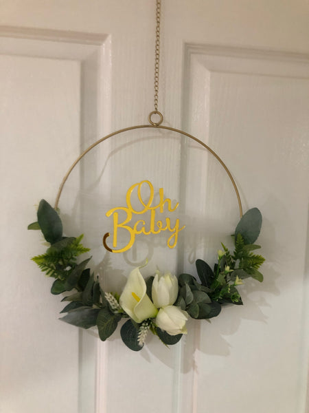 Oh Baby Floral Golden Hoop Wreath-All-Times-Gifts