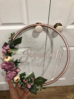 Floral Golden Hoop Wall Art-Personalised Hoops-All-Times-Gifts