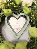 Shades of Green Floral Natural Rattan Wreath with Love-All-Times-Gifts