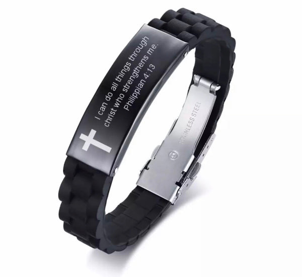 Silicon Bracelet for Men with Bible Scriptures-All-Times-Gifts