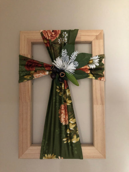 Fabric floral cross on a wooden frame-All-Times-Gifts