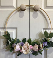 Floral Hoop Wall Art Wooden or Natural-Personalised Hoops-All-Times-Gifts