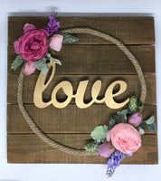 Square Timber Plaque with Decorated Floral Rope-Personalised Hoops-All-Times-Gifts