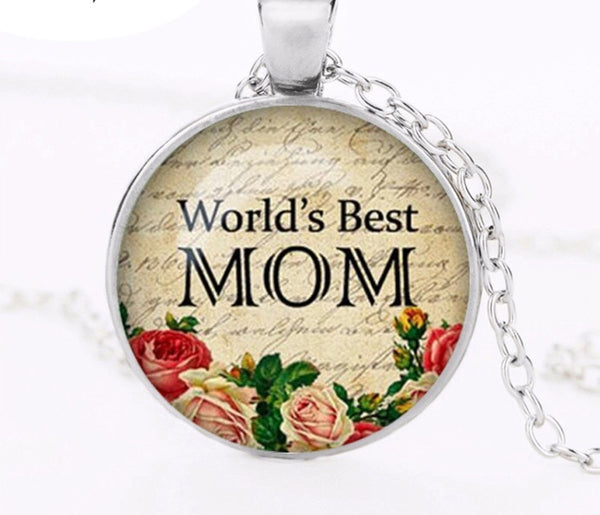 World's Best Mom Glass Dome necklace-All-Times-Gifts