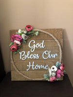God bless our home square wooden plaque-All-Times-Gifts