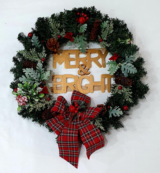 Merry & Bright Christmas wreath-All-Times-Gifts