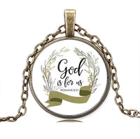 Bronze Glass Round Christian Necklace-Jewellery-All-Times-Gifts